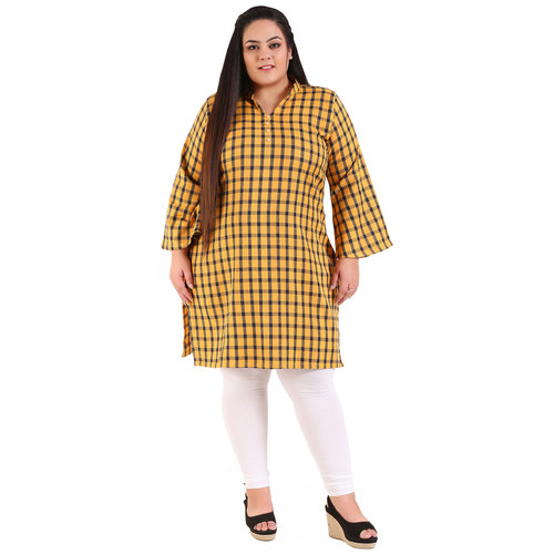 Yellow Colour Straight Checked Woolen Kurti