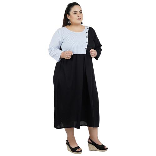 Black & Grey Colour Rayon Dress