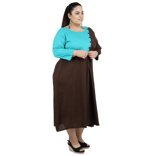 Brown & Firozi Colour Rayon Dress
