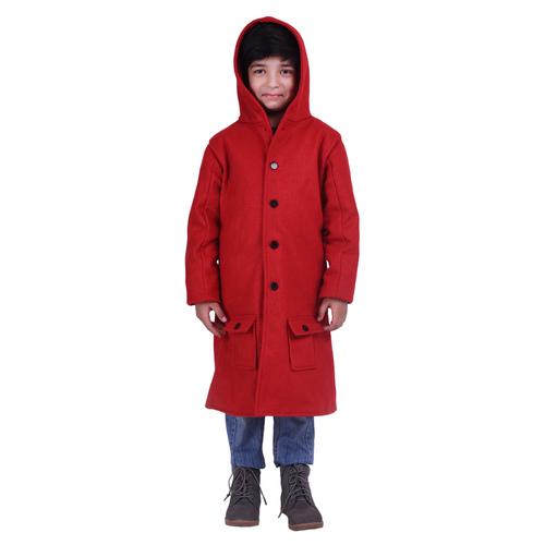 Red Colour Kids Woolen Coat