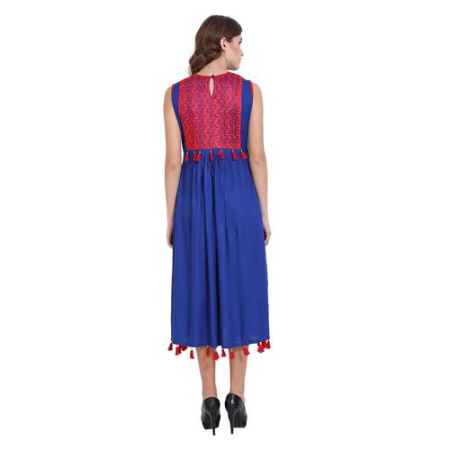 Blue Colour Rayon Dress
