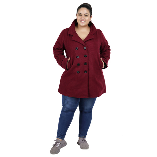 Maroon Colour Short Woolen Coat