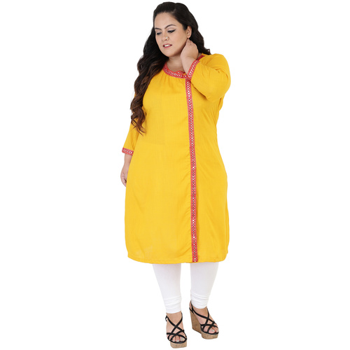 Yellow Colour Angrakha Rayon Kurti