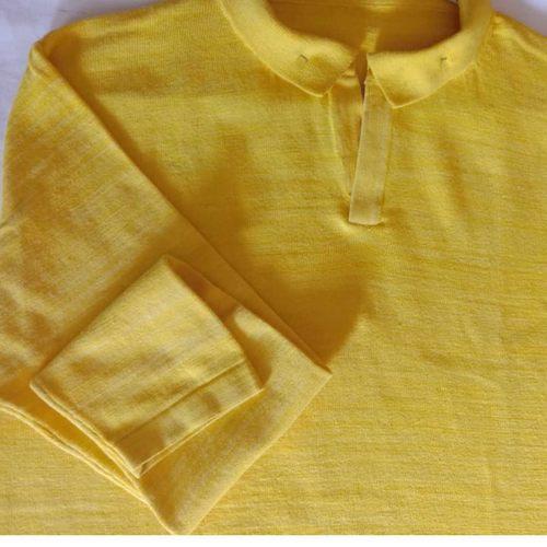Deep Yellow Polo Neck Full Sleeves T-Shirt