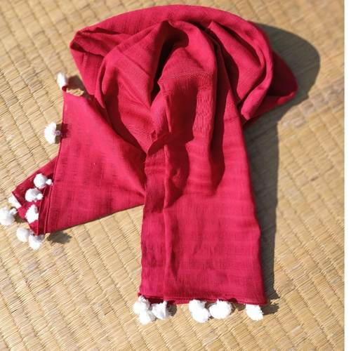 Red jali Stole with white tassels