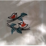 Embroidered Birds Towel