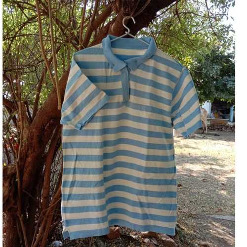 Light Blue Stripes Polo T-Shirt