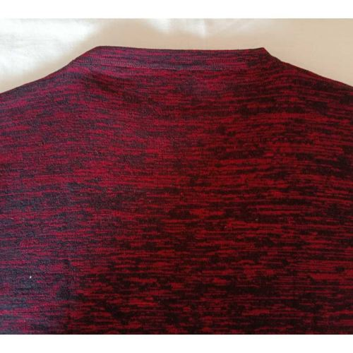 Red and Black Textured Full Sleeves T-Shirt