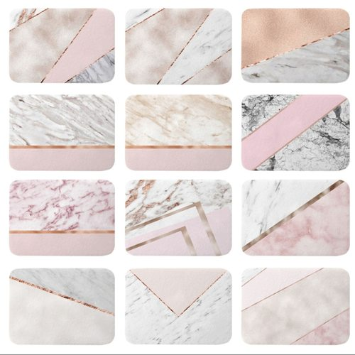 Rose Gold Geometric Marble Mats