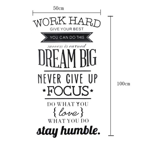 Work hard motivation quotes wall decal sticker decor