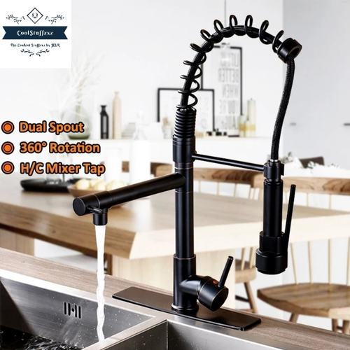 360 Swivel, Dual Spout Kitchen Faucet Tap