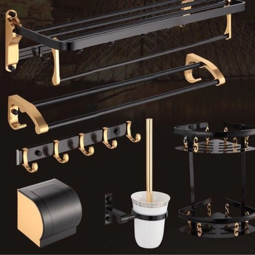 Black & Gold Bathroom Full Set Accessories