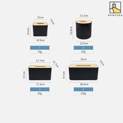 Black tissue box in 3 sizes
