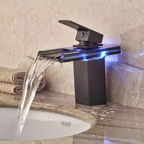 Black 3 Color LED Waterfall Bathroom Basin Tap Faucet