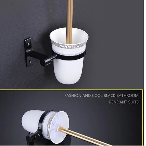 Black & Gold Bathroom Full Set Accessories