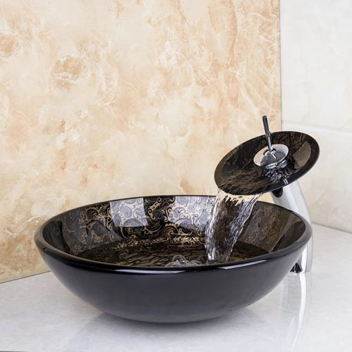 Lavatory Vessel Glass Bathroom Sink & Chrome Waterfall Faucet