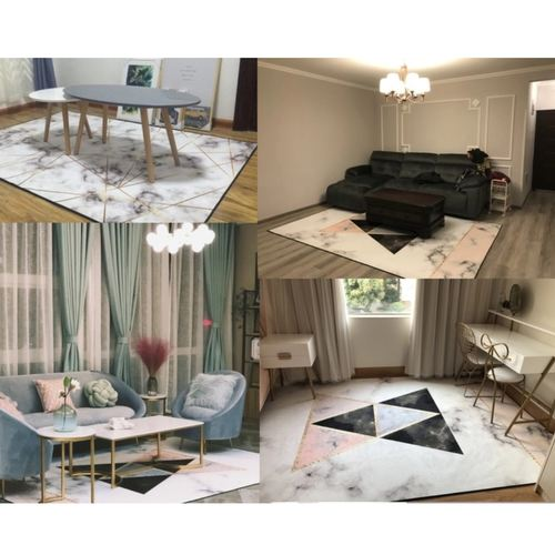 Nordic Geometric Marble Pattern Carpet Living Room