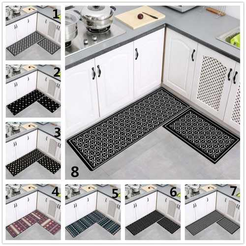 2pcs/Set Geometric Patterns Kitchen Mat/Rug