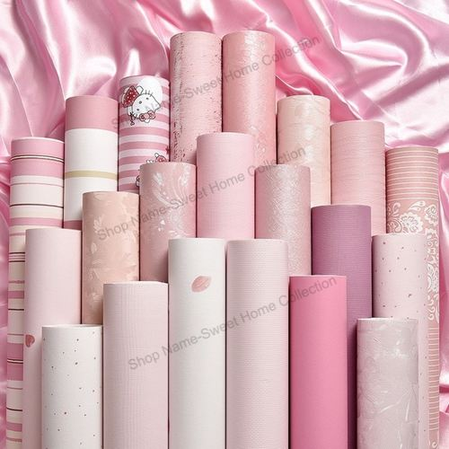 Pink PVC Wallpaper Rolls with Free Gifts