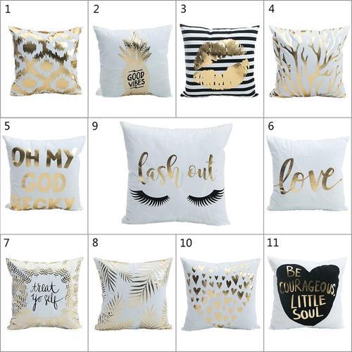 Modern Gold/White Square Cushion Throw Pillow Cover