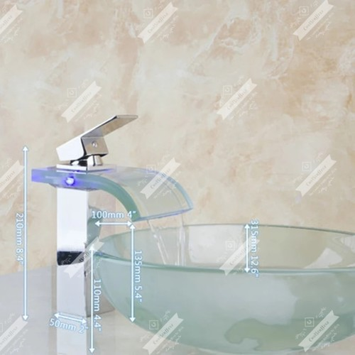 Art Washbasin Tempered  Frosted Glass Vessel Sink With Waterfall Glass Brass LED Faucet Set