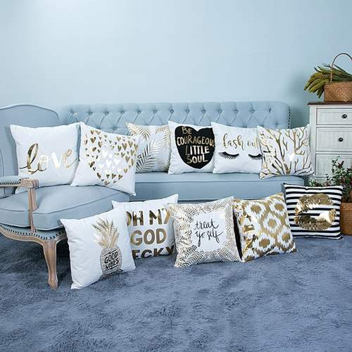 Modern Gold/White Square Cushion Throw Pillow Cover