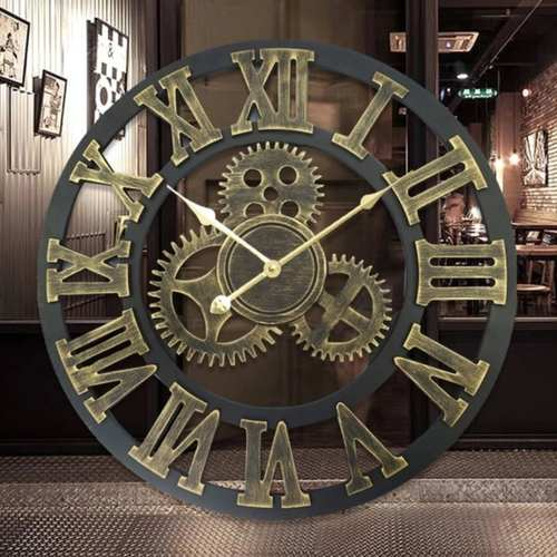 European Retro Gear Pattern Wall Clock