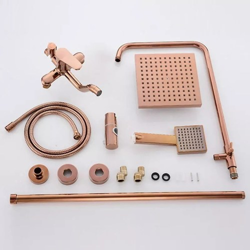 Designer Rose Gold Rainshower Head Set with Valve complete set.