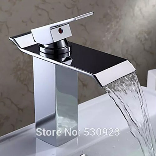 Waterfall Widespread Tap Chrome Polish Single Handle Water Faucet