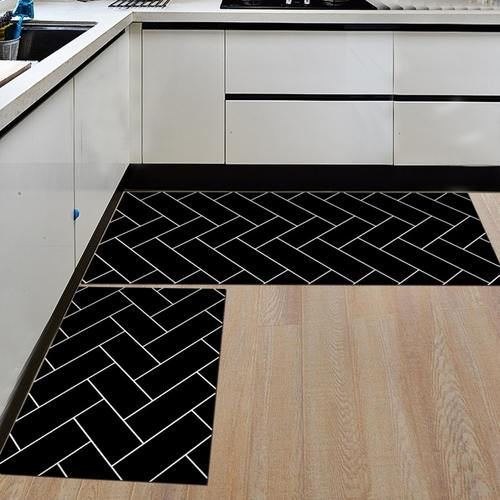 2 Pcs Geomatric Pattern Kitchen/Door Mat