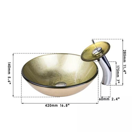 Yellow Waterfall bowl bathroom sink