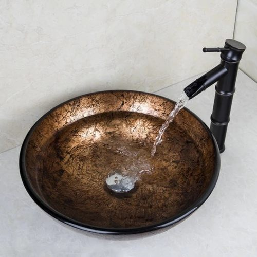 Gold Counter-Top Bowl Basin Set