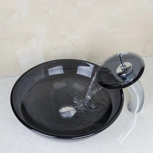 Artistic Glass Vessel Vanity Sink Clear Black Tempered Glass Set