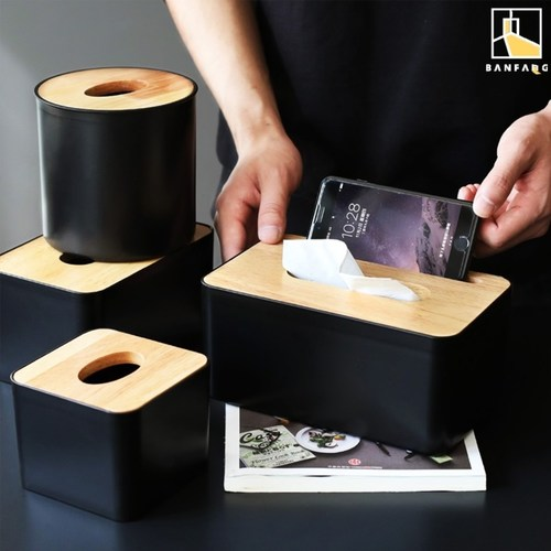 Black tissue box in 3 sizes