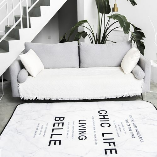 Chic Life White Marble Modern Carpet Design
