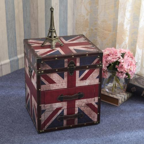 US Vintage Retro Bedside Table with Storage Drawers