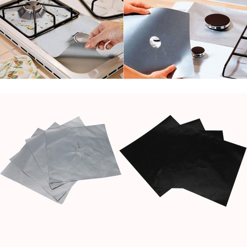 4pcs Glass Fiber Gas Stove Protectors Reusable