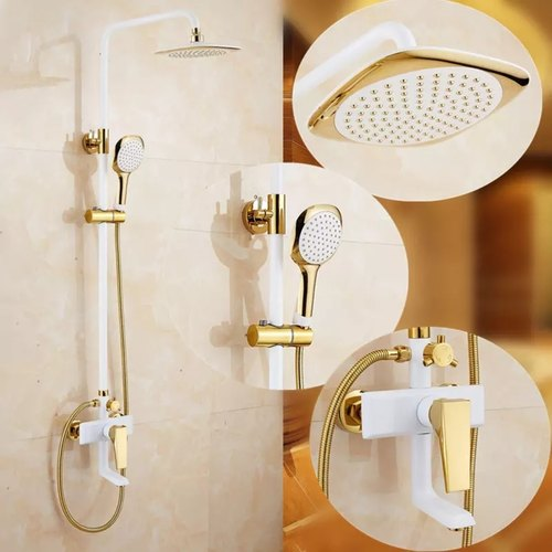 European style gold white shower set