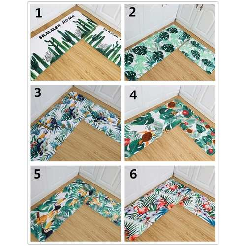 2pcs/set Leaf Printed Design Kitchen Mat