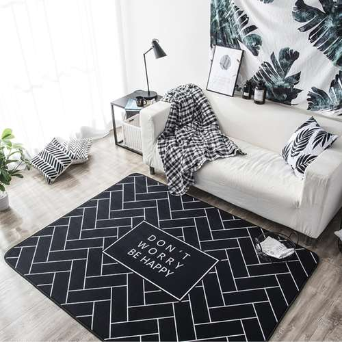 Black&White Diagonal Lines Modern Carpet