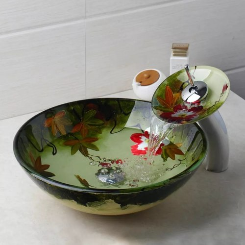 Rainfall Tempered Glass Bowl Color Basin Sink with Faucet Tap Set