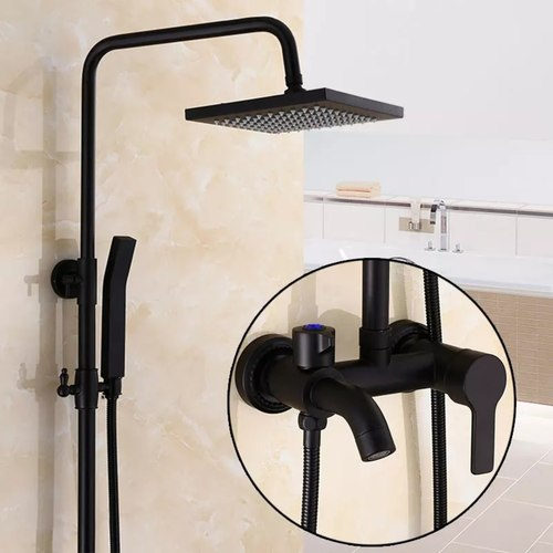 "Black/Bronze Bathroom 8"" Rainfall Shower Faucet Set."