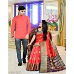 Kashvi Fancy Men's Shirt  & Women's Sarees Combo Vol 1