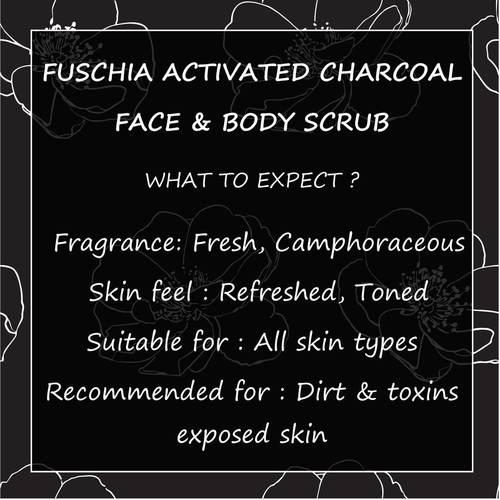 Fuschia - Activated Charcoal - Face & Body Detoxifying Scrub -50g