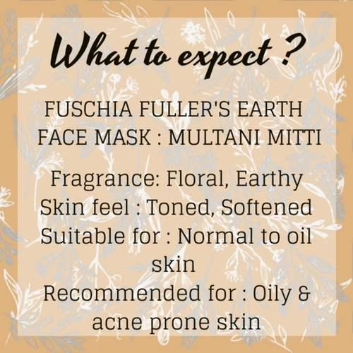 Fuschia Fullers Earth Face Mask - Multani Mitti - 100g