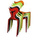 Unique Style Cafe Dining Chair Pure PP Plastic Chair in Red Color Trade