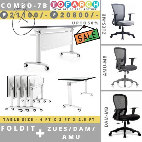 Table Chair Combo - 7B FOLDIT Table + AMU  DAM  ZUES Chair
