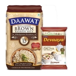 Daawat Brown Basmati Rice 1kg  - Daawat Devaaya Dalia 500g Free