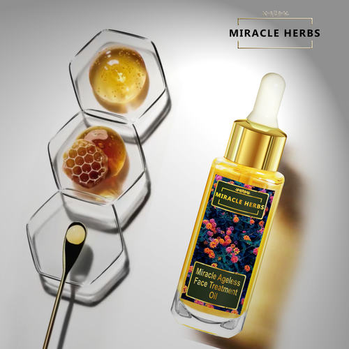 Miracle Herbs Ageless Face Treatment Oil, Multivitamin Complex,100 Pure Plant Extracts For All Skin Type,30 ml