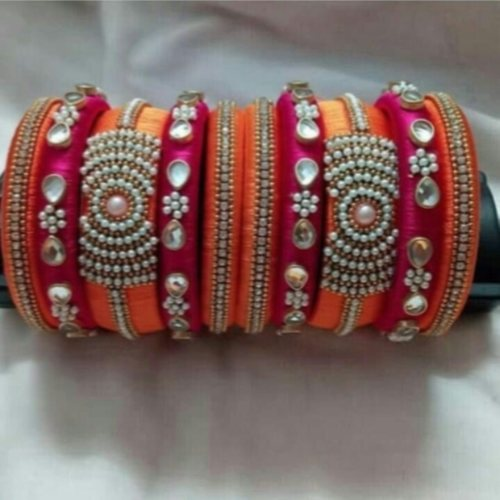 Silk thread bangles full set